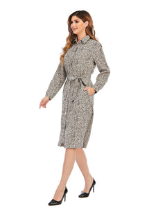Animal Print Self Belt Shirt Dress 2926
