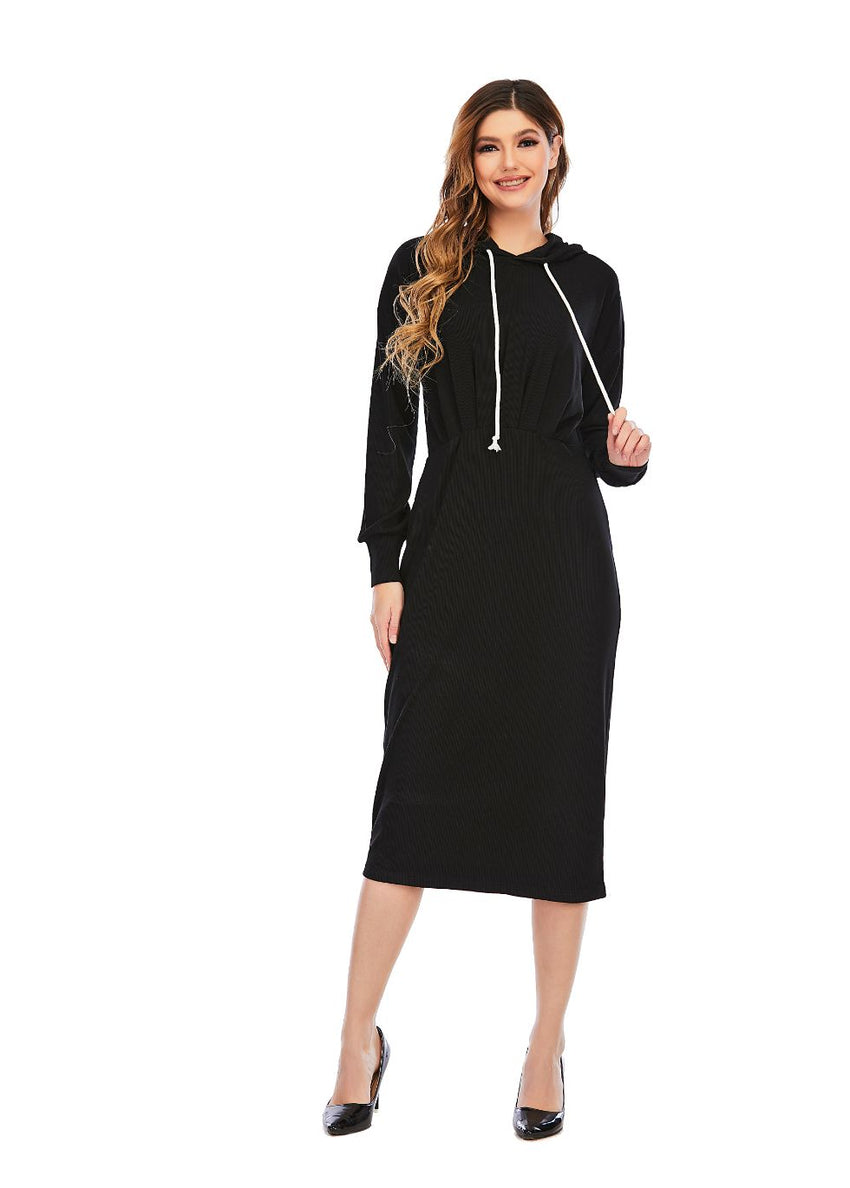Ribbed Detailed Hoodie A Line dress 2928
