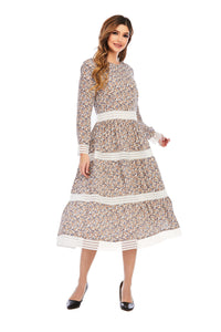 Duchess Print W/Lace Dress 2929