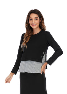 Long Sleeve Twofer solid and stripe contrast top 2941