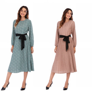 Lantern Sleeve self Belt Modest Dress 2947