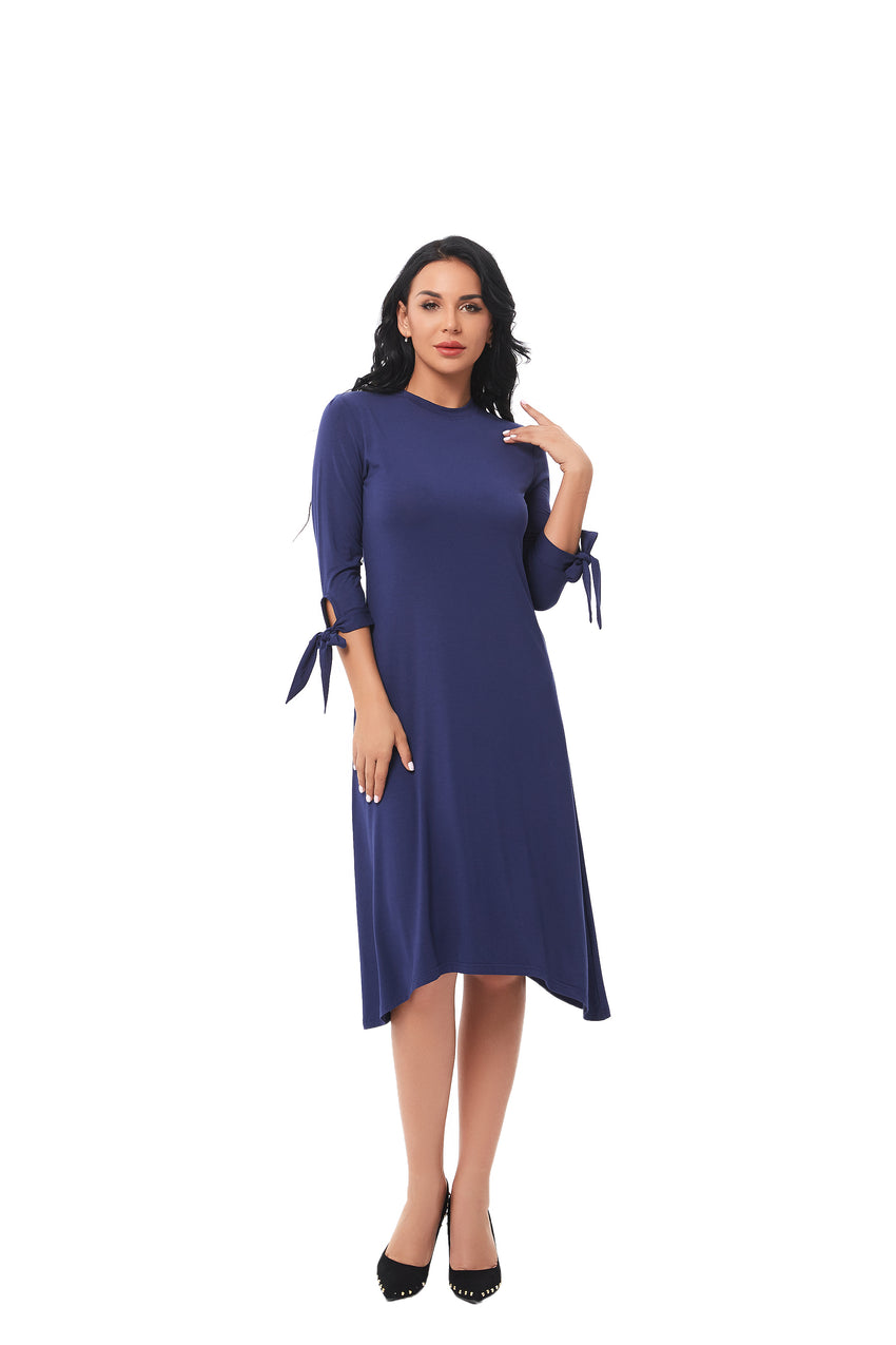 Casual Bow Tie Sleeve Dress 2835