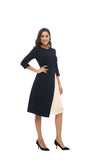 Modest Navy Dress with Ivory Pleated Panel 2867 - MissFinchNYC