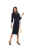 Modest Navy Dress with Ivory Pleated Panel 2867