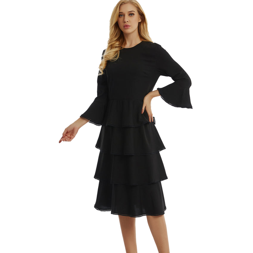 Ultra Soft Tier Dress with Trim 2775 - MissFinchNYC, modest, modest clothing, trendy modest clothing, modest apparel, modest fashion, tznius clothing, tzinuis fashion