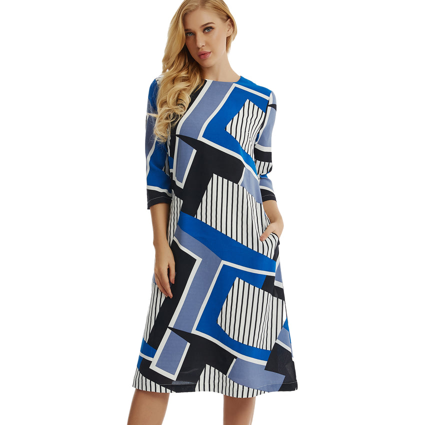 Geo Graphic A Line Dress 2776 - MissFinchNYC, modest, modest clothing, trendy modest clothing, modest apparel, modest fashion, tznius clothing, tzinuis fashion