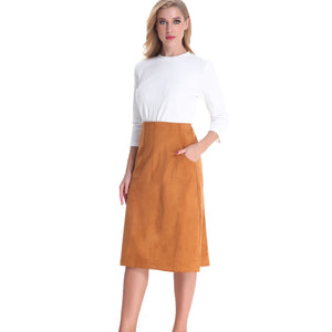 A Line Ultra Pocketed Skirt 2790C - MissFinchNYC, modest, modest clothing, trendy modest clothing, modest apparel, modest fashion, tznius clothing, tzinuis fashion