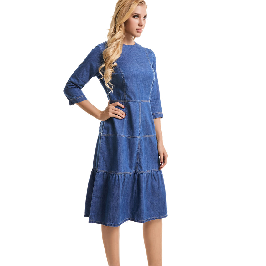 Denim 3 Tier Dress 2773 - MissFinchNYC, modest, modest clothing, trendy modest clothing, modest apparel, modest fashion, tznius clothing, tzinuis fashion