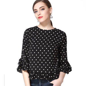 Polka Dot Bell Blouse 2615 - MissFinchNYC, modest, modest clothing, trendy modest clothing, modest apparel, modest fashion, tznius clothing, tzinuis fashion