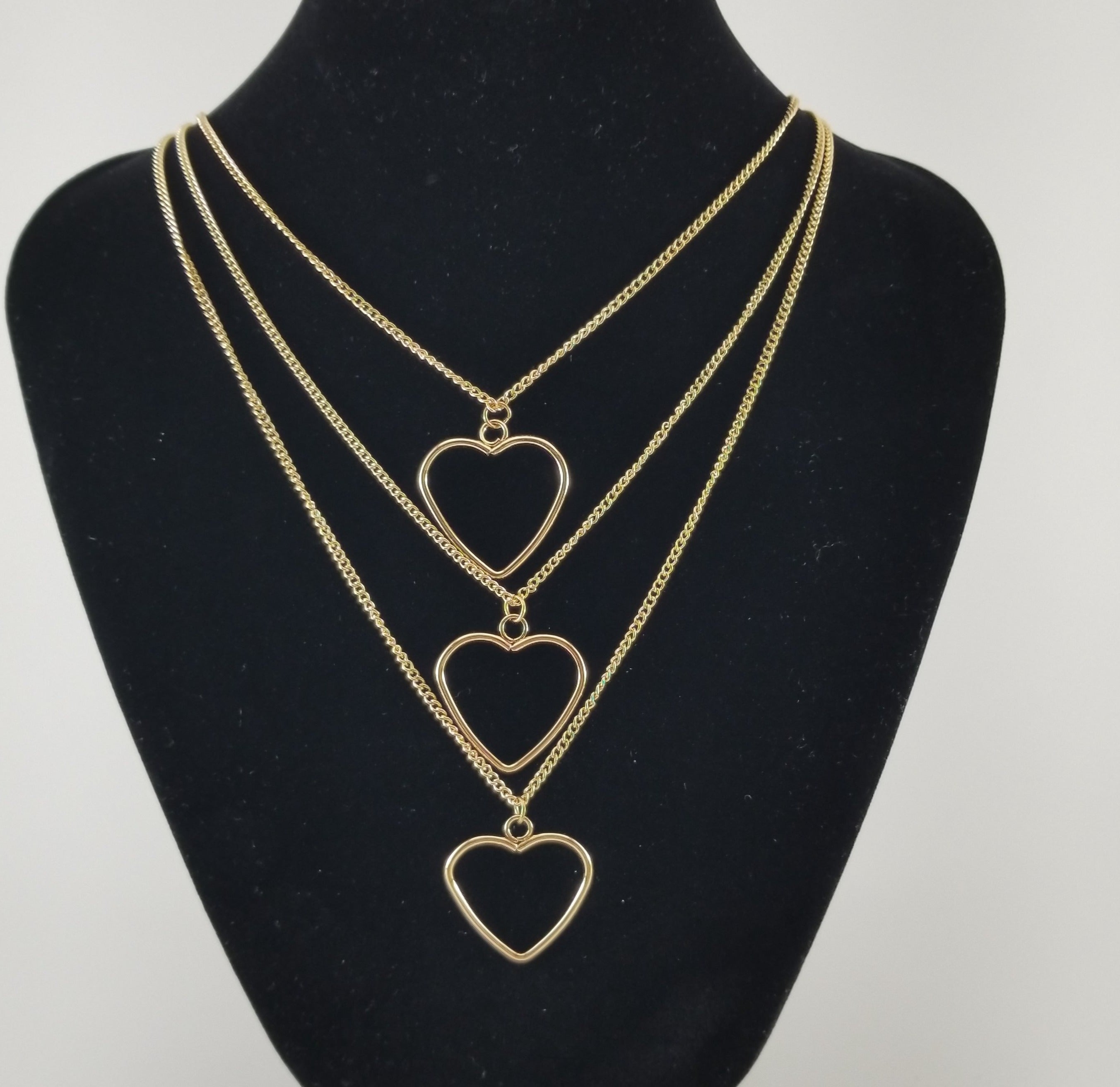 Three Strand Heart Necklace