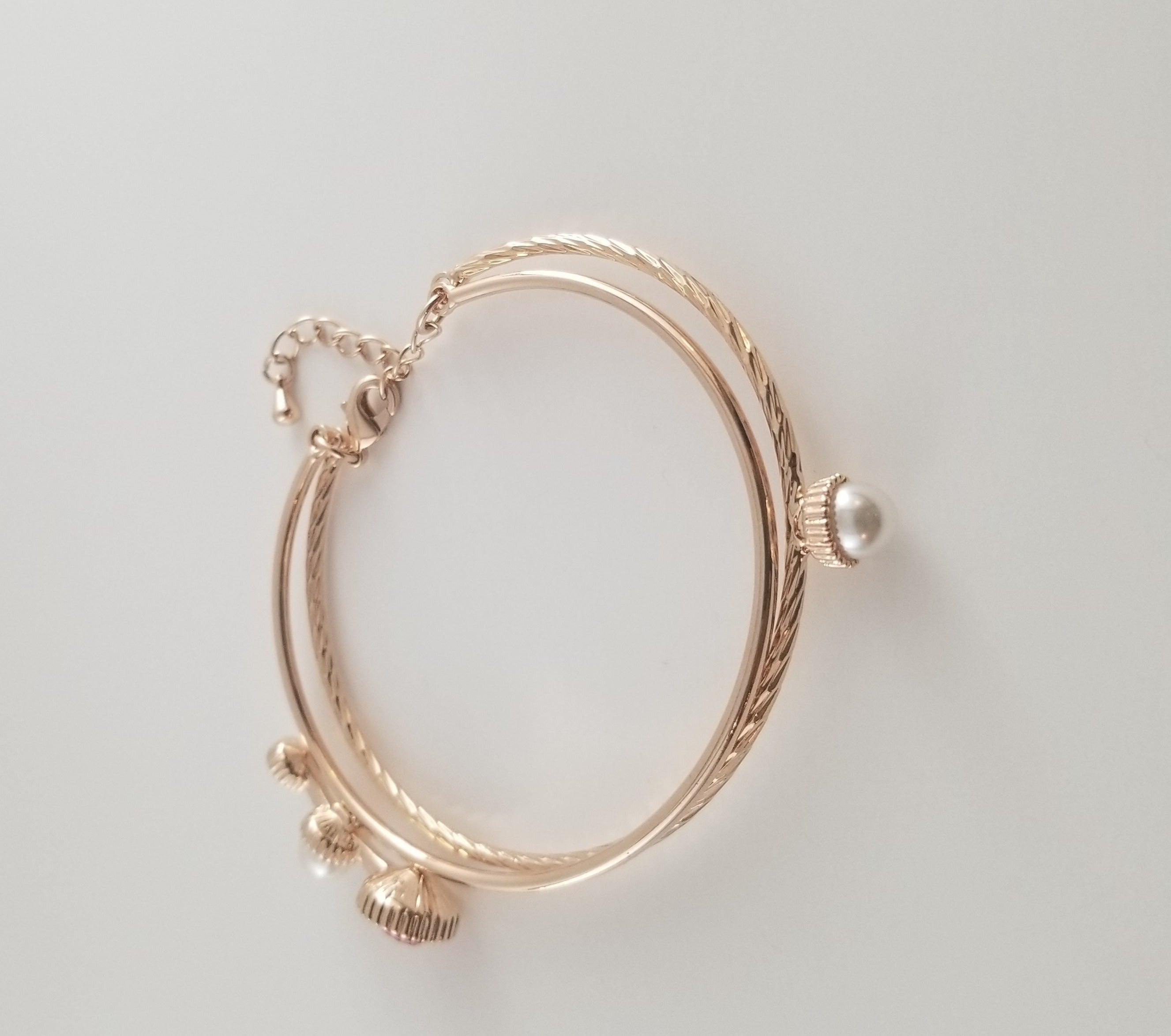 Gem and Pearl Double Bracelet