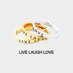 "3pcs Ring Set - ""Live Laugh Love"""