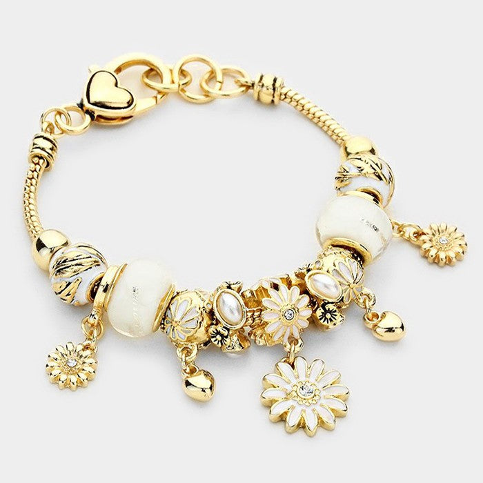 Flower and Leaf Charm Bracelet