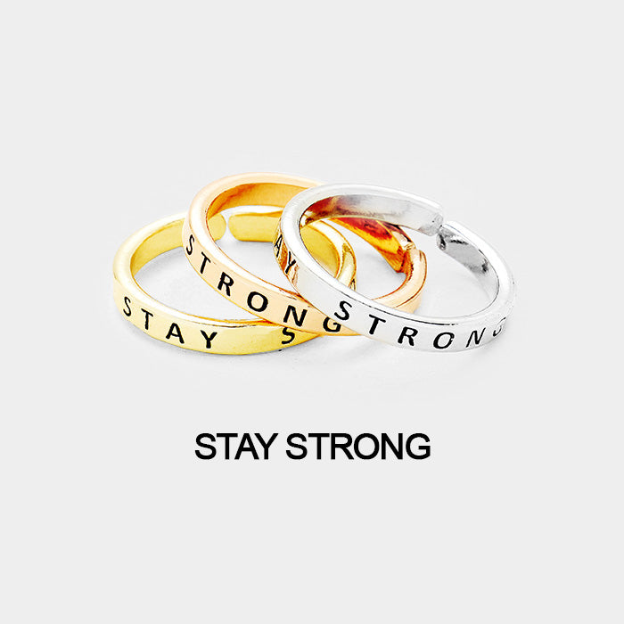 "3pcs Ring Set -""Stay Strong"""