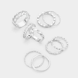 9pc Braided Ring Set