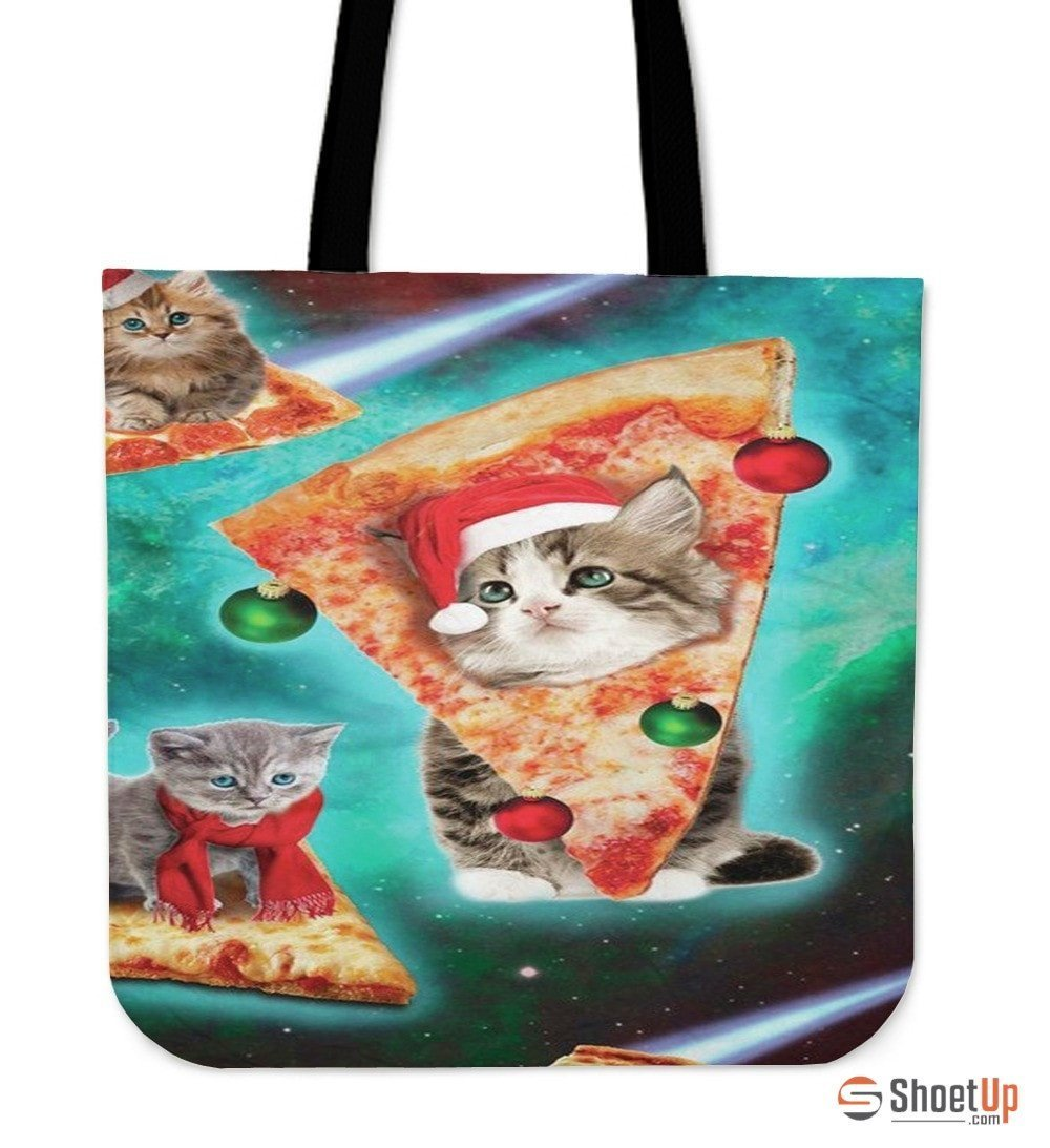 Cat On Pizza 3D Printed-Tote Bag-Free Shipping