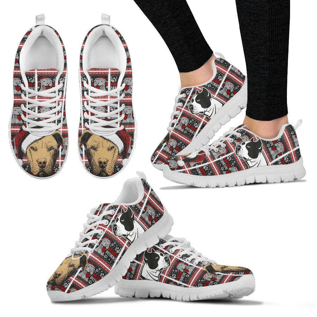 American Pit Bull Terrier Christmas Running Shoes For Women- Free Shipping - Deruj.com