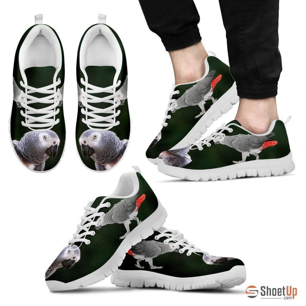 'African Grey Parrot Walking' Print Running Shoes For Men-Free Shipping - Deruj.com