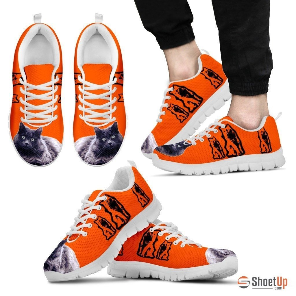 Nebelung Cat Print Sneakers For Men(White/Black)- Free Shipping - Deruj.com