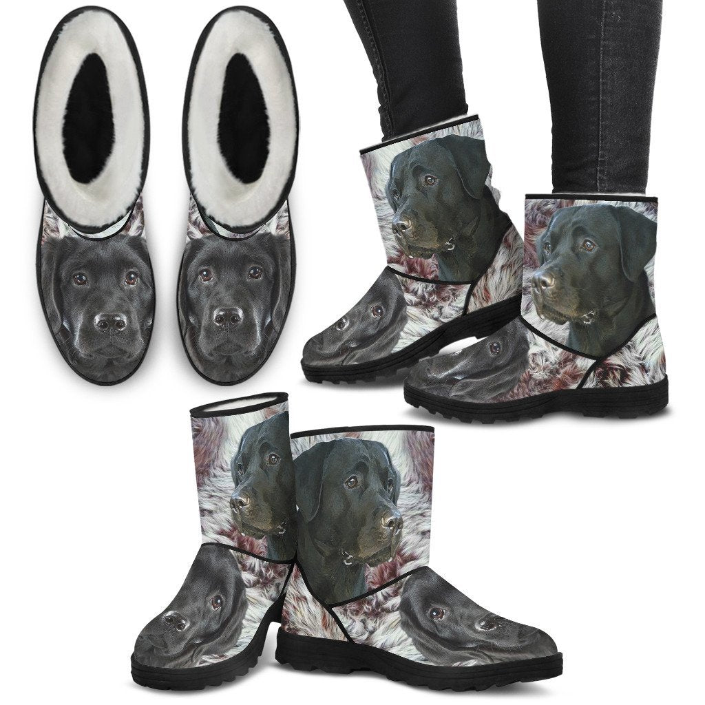 Cute Black Labrador Print Faux Fur Boots For Women- Free Shipping