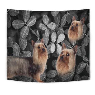 Australian Silky Terrier On Black Print Tapestry-Free Shipping - Deruj.com