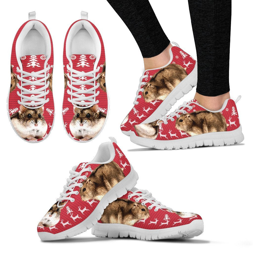 Campbell's Dwarf Hamster Print Christmas Running Shoes For Women- Free Shipping - Deruj.com