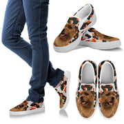 Norfolk Terrier Dog Print Slip Ons For Women-Express Shipping - Deruj.com
