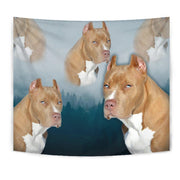 Pit Bull Terrier On Blue Print Tapestry-Free Shipping - Deruj.com