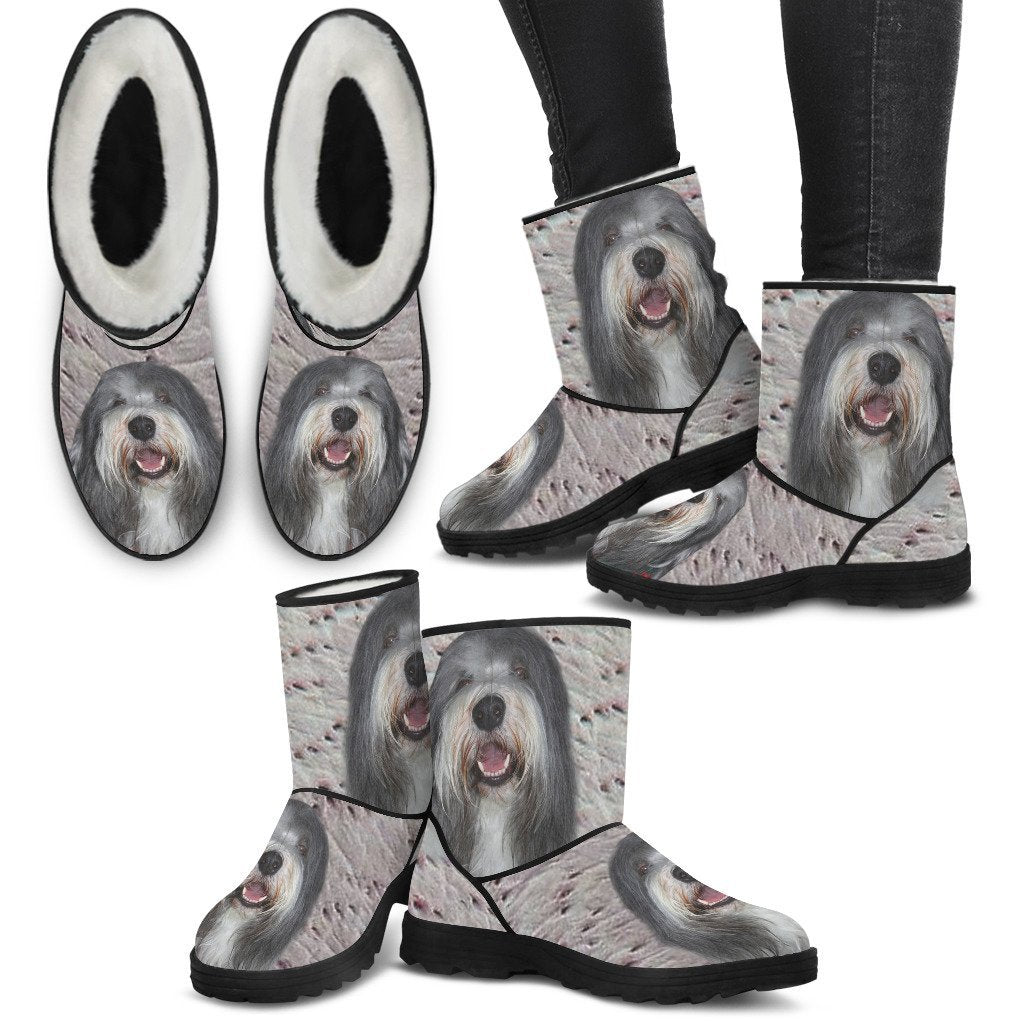Bearded Collie Print Faux Fur Boots For Women-Free Shipping - Deruj.com