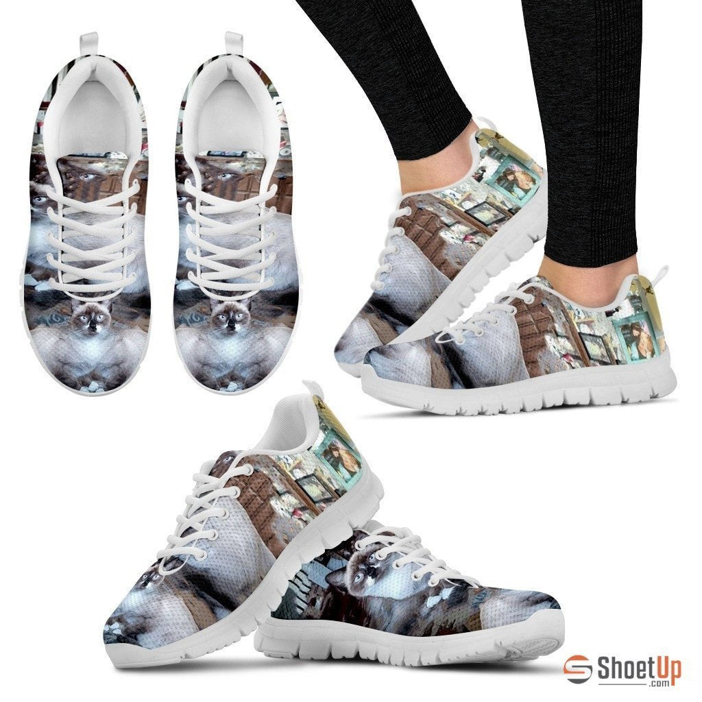 White Cat Print Shoe For Women- Free Shipping - Deruj.com