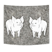 Large White pig Print Tapestry-Free Shipping