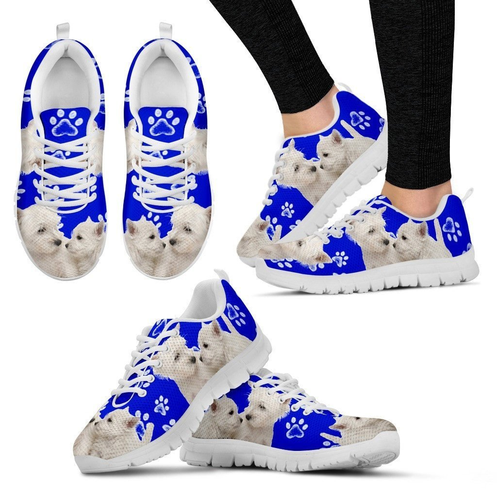 Paws Print West Highland White Terrier (Black/White) Running Shoes For Women-Express Shipping - Deruj.com