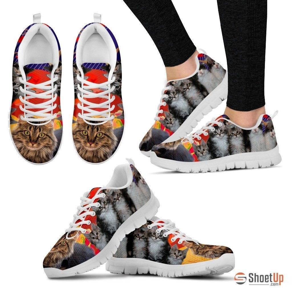 Maine Coon Cat Print Running Shoes For Women- Free Shipping - Deruj.com