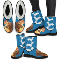 Dachshund Print Faux Fur Boots For Women-Free Shipping