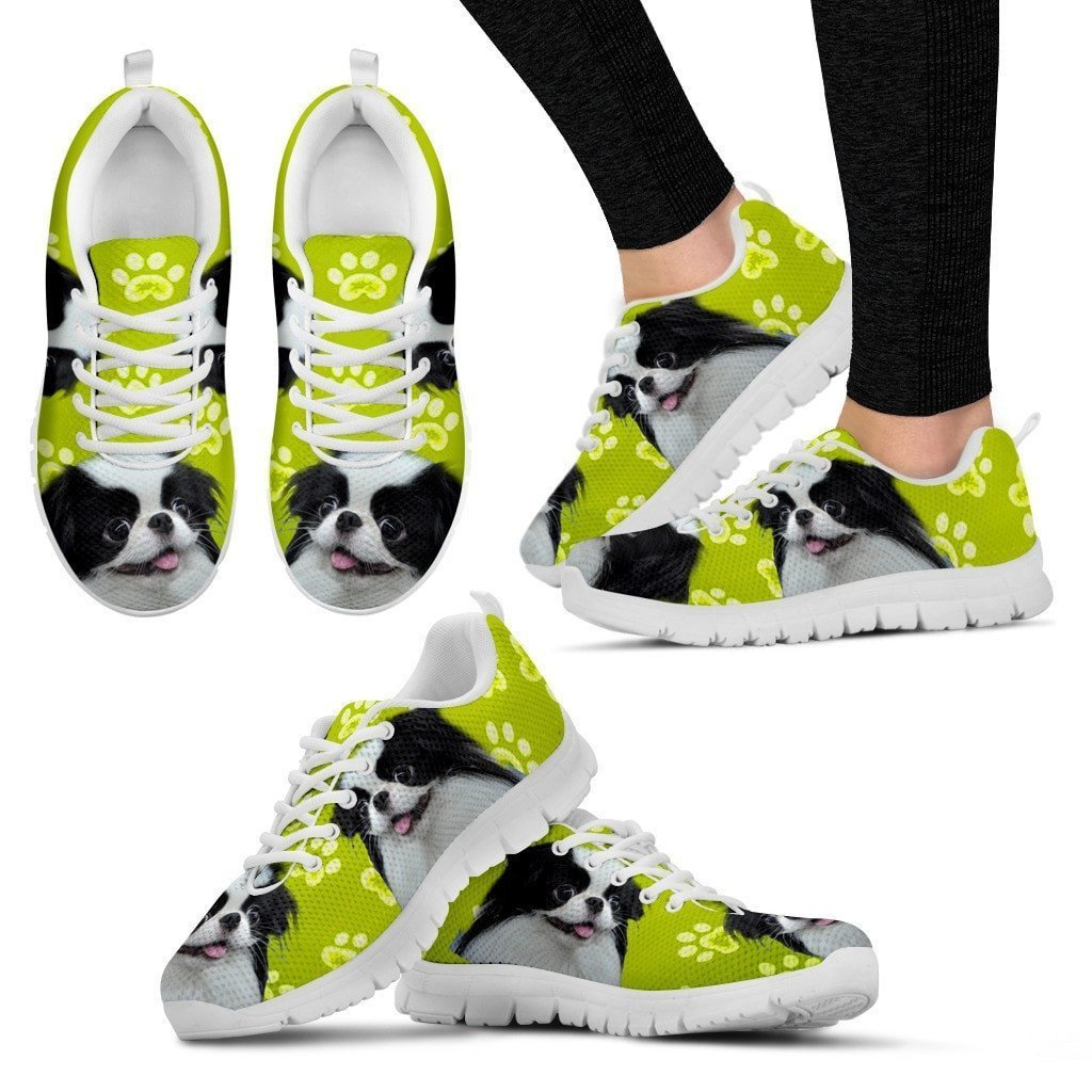 Paws Print Japanese Chin (Black/White) Running Shoes For Women-Express Delivery - Deruj.com