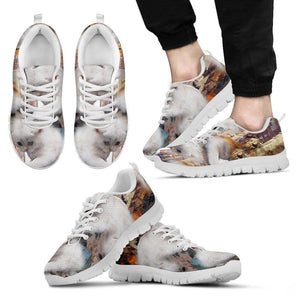 White Cat Print Running Shoes (Men And Women)- Free Shipping - Deruj.com
