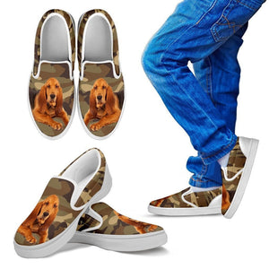 Bloodhound Dog Print Slip Ons For Kids-Express Shipping - Deruj.com