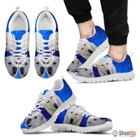 Cool 'Central Asian Shepherd Dog' (White/Black) Running Shoes For Men-Free Shipping - Deruj.com