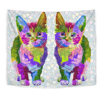 Amazing Cat Color Art Print Tapestry-Free Shipping - Deruj.com