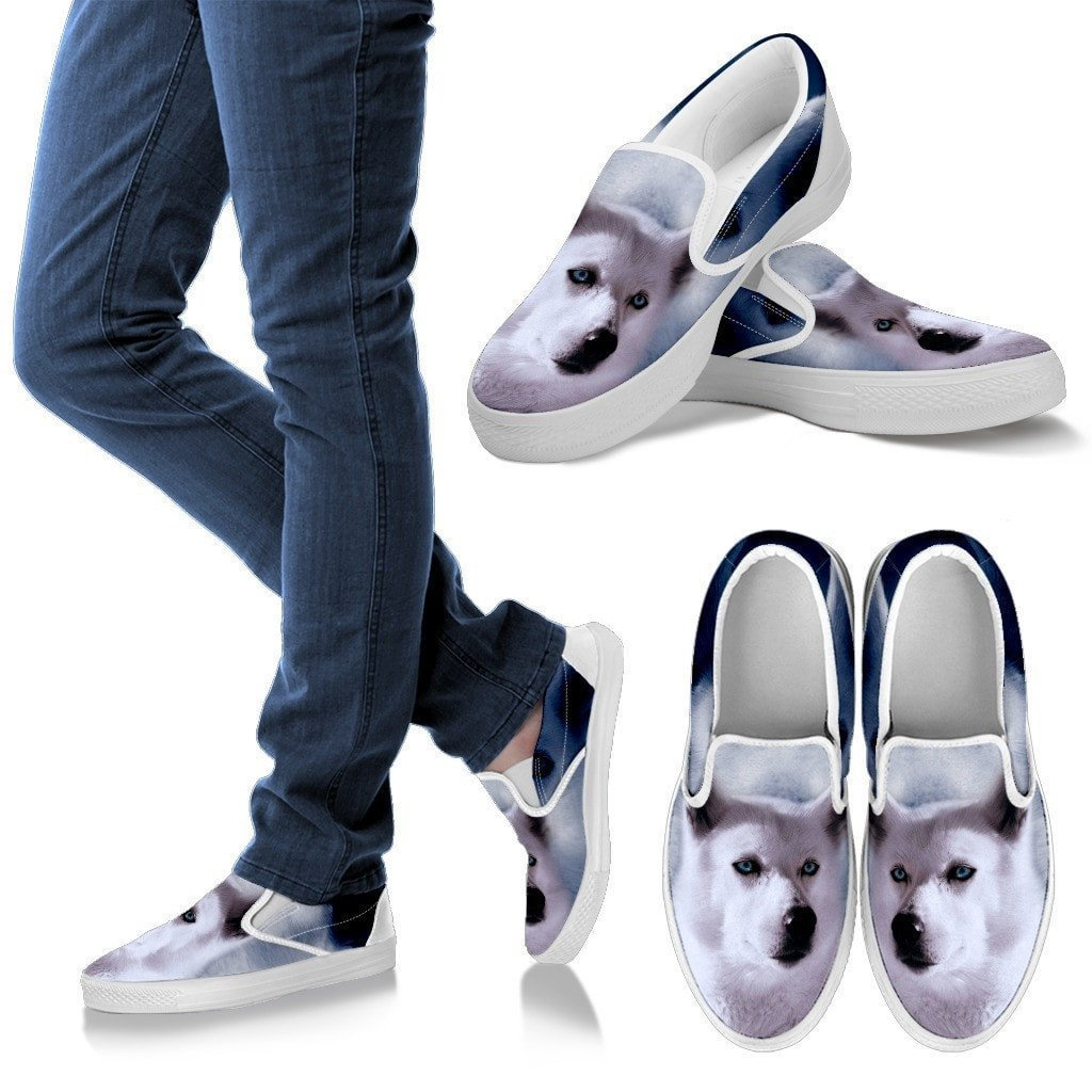 White Husky Print Slip Ons For Women- Express Shipping - Deruj.com