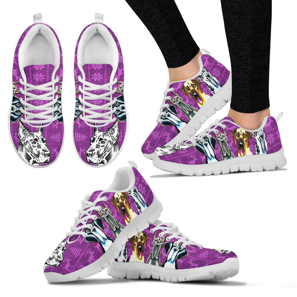 Great Dane Print Christmas Running Shoes For Women- Free Shipping