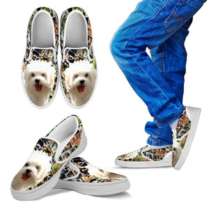 Amazing Maltese Dog Print Slip Ons For Kids-Express Shipping - Deruj.com