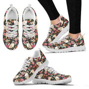 Pug Dog Floral Print Sneakers For Women- Free Shipping - Deruj.com