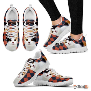 Japanese Bobtail Cat Print (White/Black) Running Shoes For Women-Free Shipping - Deruj.com