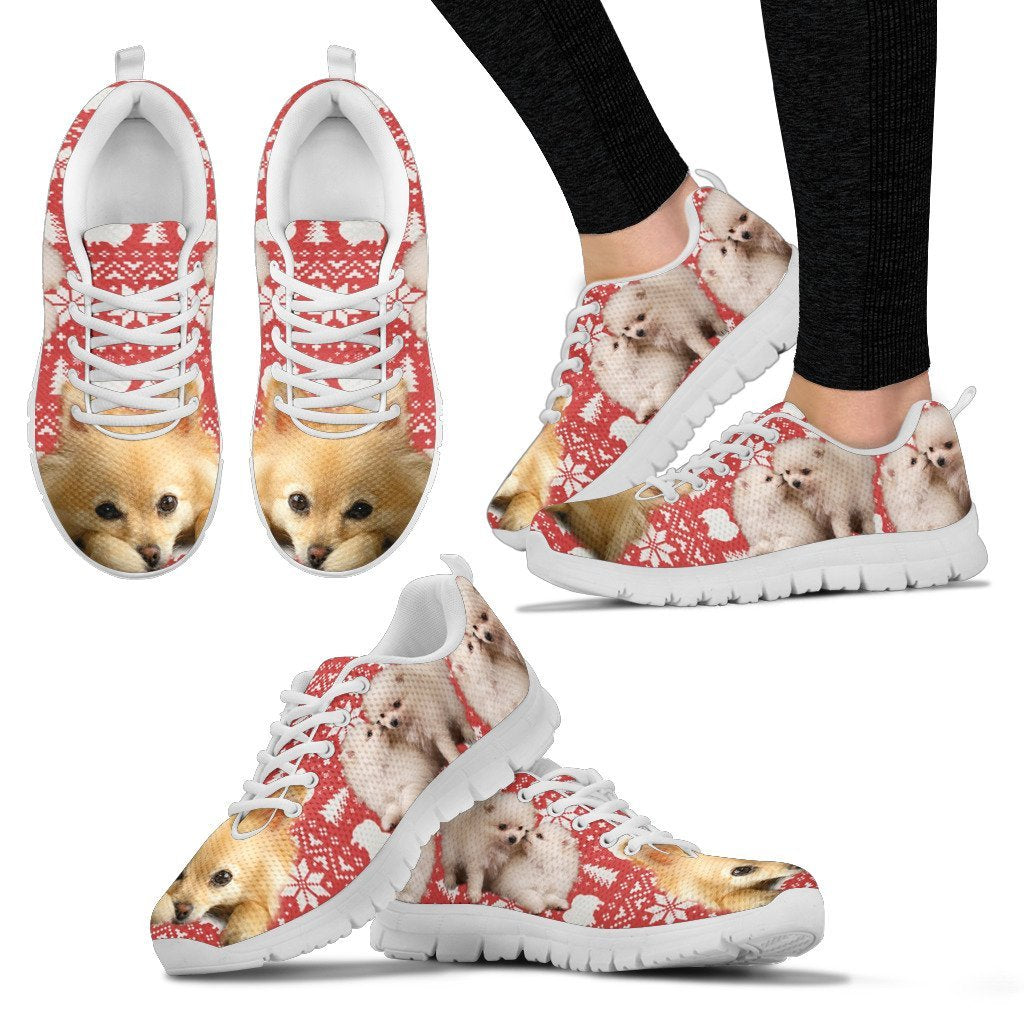 Pomeranian Dog Christmas Shoes For Women- Free Shipping - Deruj.com