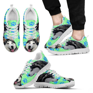 Siberian Husky Paws Print (Black/White) Running Shoes For Men-Free Shipping Limited Edition - Deruj.com