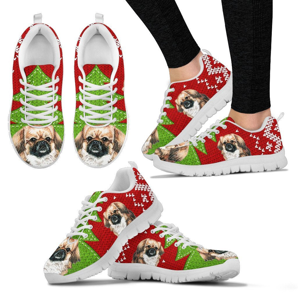 Tibetan Spaniel Christmas Print Running Shoes For Women-Free Shipping - Deruj.com