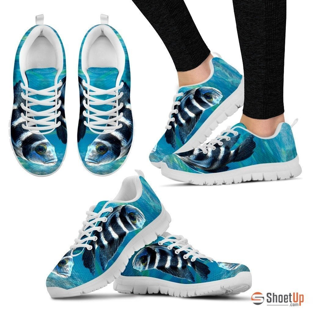 African Cichlid Fish (White/Black) Running Shoe For Women-Free Shipping - Deruj.com
