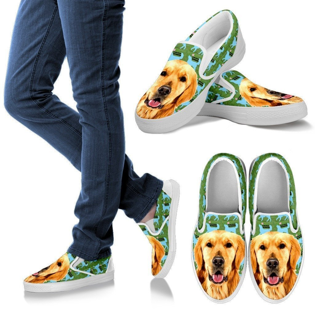 Golden Retriever Print Slip Ons For Women-Express Shipping - Deruj.com