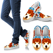 Valentine's Day Special-Akita Dog Print Slip Ons For Women- Free Shipping - Deruj.com